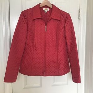 TALBOTS Jacket Red Zippered Polka Dot/Quilted
